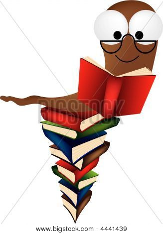 Bookworm On Stack Of Books