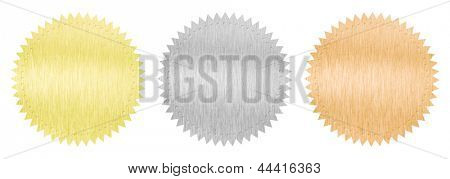 gold, silver and bronze guarantee seal isolated on white with clipping path included