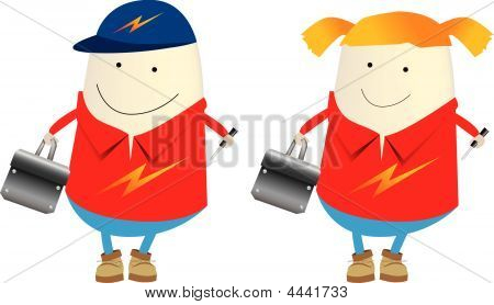 Electrician Illustration Male And Female