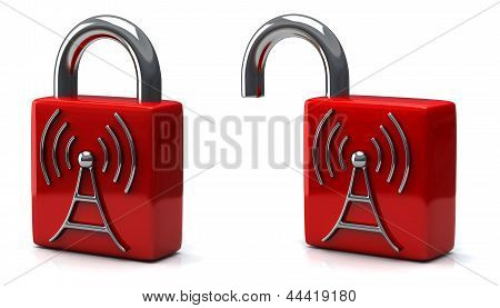 Padlock with wireless icon, 3d