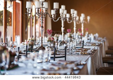 Decorated Tables With Candelabra At Wedding Reception, Selective Focus