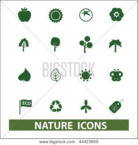 green nature, clean ecology, trees icons, signs set, vector