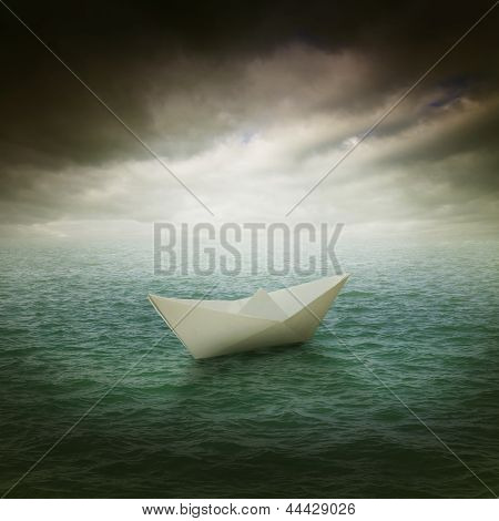 Paper Boat In The Stormy Ocean