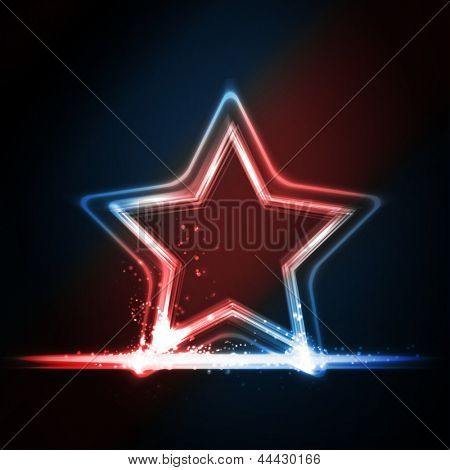 Star frame background with light effects on dark background in shades of red, white and blue. Great background for Independence day or any other patriotic theme in USA, GB, France, etc..