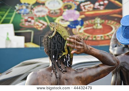 Exotic Oil Painted Man with Iguana