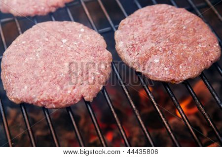 Beef cutlet on grill