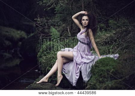 Sensual Woman In Nature Scenery