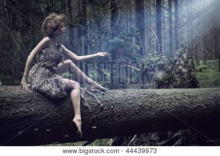 Sexy Woman Sitting On The Tree