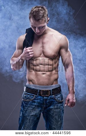 Young Handsome Sexy Athlete man without Shirt poster