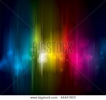 Abstract colorful light on dark background.