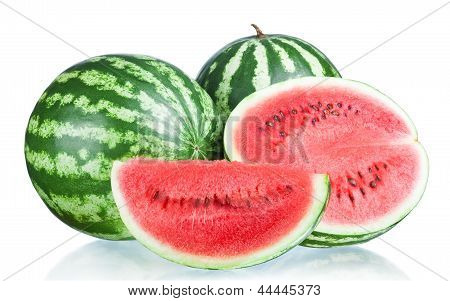 Two Whole Watermelon, Half And Slice Isolated  On A White Background