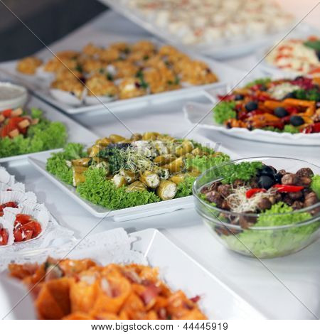 Variety Of Cold Vegetables On A Buffet