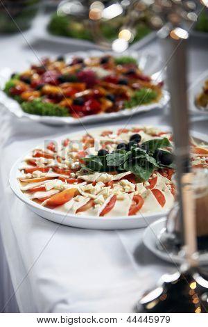 Platter Of Mozzarella Cheese And Tomato