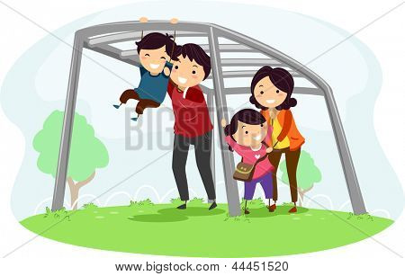 Illustration of a Family helping their Kids climb a Monkey Bar