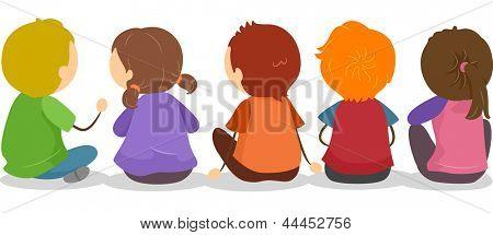 Illustration of Backview of Little Kids Sitting on the Ground