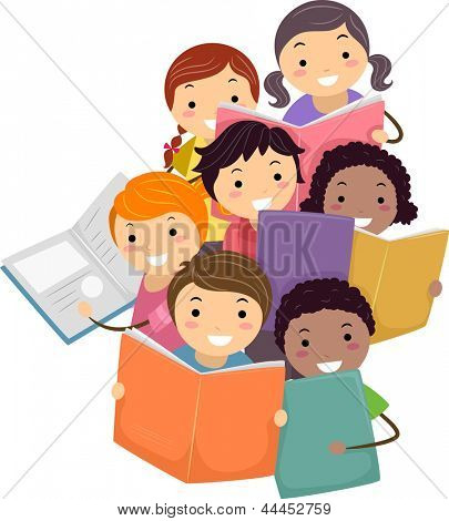 Illustration of Stickman Kids reading Books