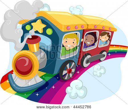 Illustration of Kids on a Rainbow Train
