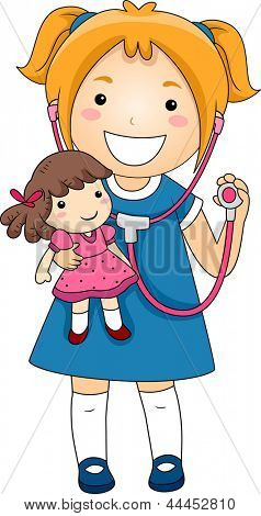 Illustration of a Little Girl playing Doctor with a Stethoscope with a Rad Doll patient