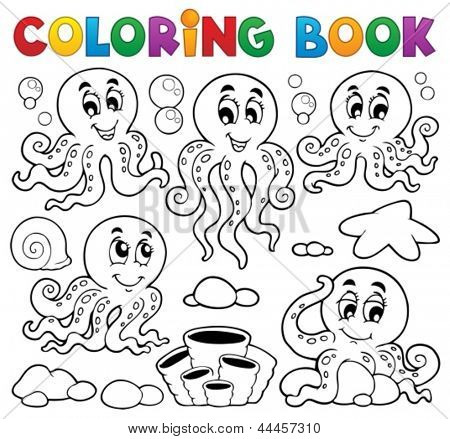 Coloring book octopus theme 1 - eps10 vector illustration.