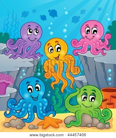 Octopus theme image 1 - eps10 vector illustration.