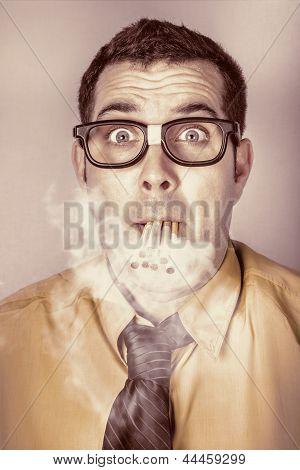 Smoking Nerd Businessman Under Work Stress