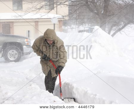 Snow Shoveling In  Blizzard