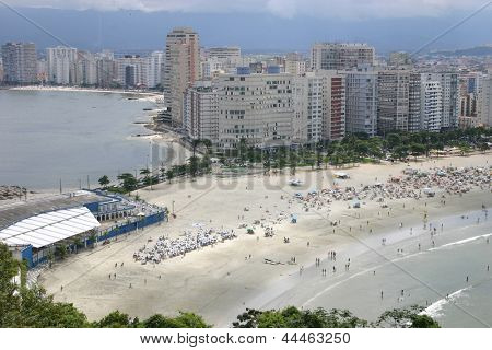 Photo of Ocean on the both sides in Santos - Sao Vicente - Sao Paulo - Brazil