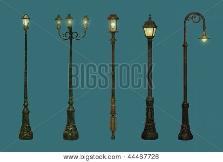 Five Street Lamps