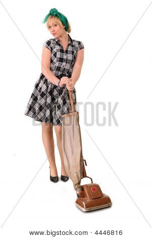 Houswife With Vacuum Cleaner