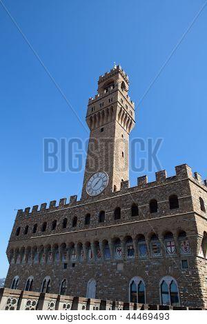 Palazzo Vecchio and the clock tower on Piazza della Signoria Florence Tuscany