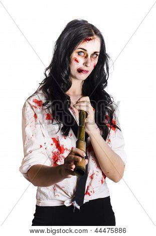 Battered Business Girl Preparing For The Worst