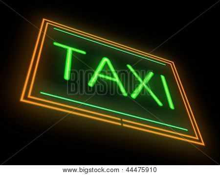 Neon Taxi Sign.