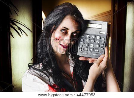Female Devil Business Woman Showing Profits