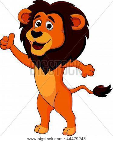 Vector illustration of Cute lion cartoon thumb up poster