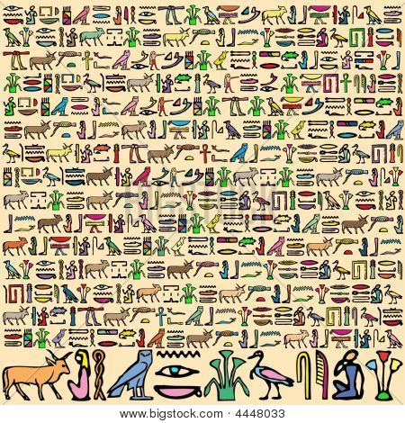 An Illustration of Ancient Egyptian Hieroglyphics in Square Format poster
