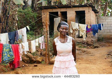 Young African Woman In Backyard