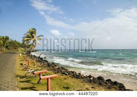 Caribbean Sea Waterfront Sally Peach Beach Big Corn Island Nicaragua