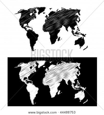 geographical map scribbled