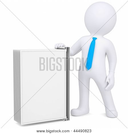 3d man holding a changeover advertising stand
