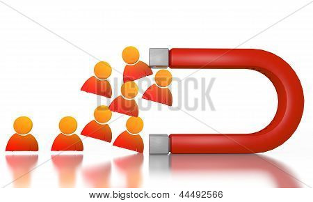 Illustration of a friendly man sign attracted by an magnet