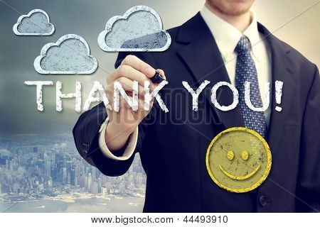 Business Man Drawing Thank You