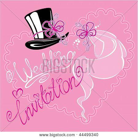Wedding Invitation Card With Wedding Veil And Groom Hat