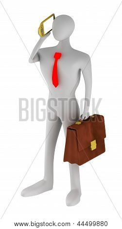 3D Businessman Talking On The Phone