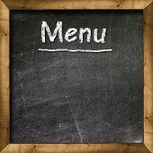 Menu title written with chalk on blackboard poster