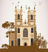 Brown Catholic Cathedral with trees and birds poster
