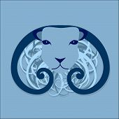 Vector ram head design with curly wool poster