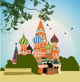 Domes of the famous Head of St. Basil's Cathedral on Red square poster