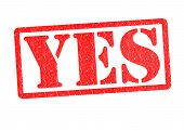 YES Rubber Stamp over a white background. poster