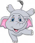 Vector illustration of Cute elephant cartoon circus poster