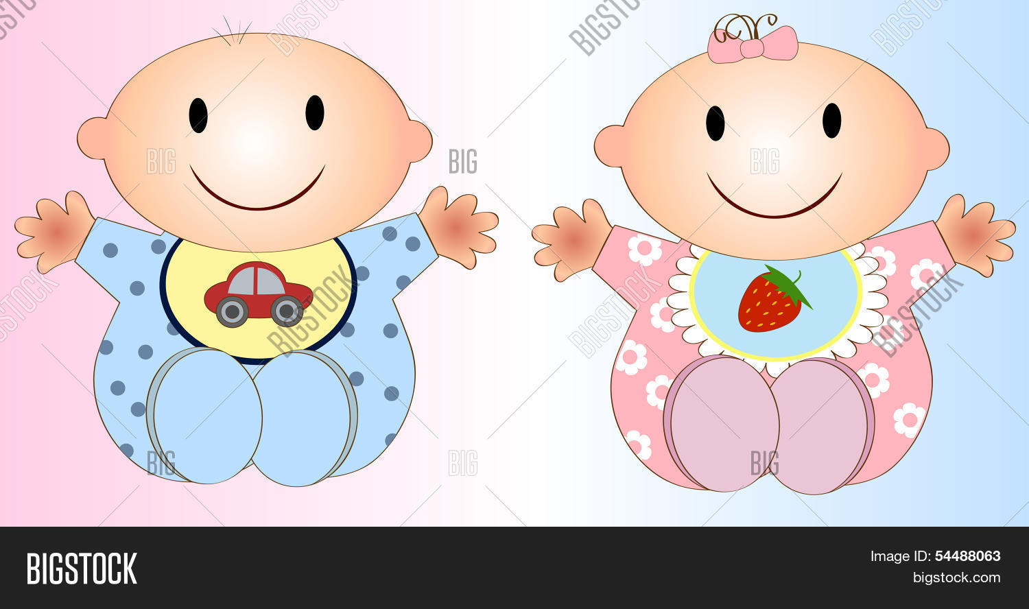 Little twins girl and boy stock illustration. Illustration of pink -  16927408